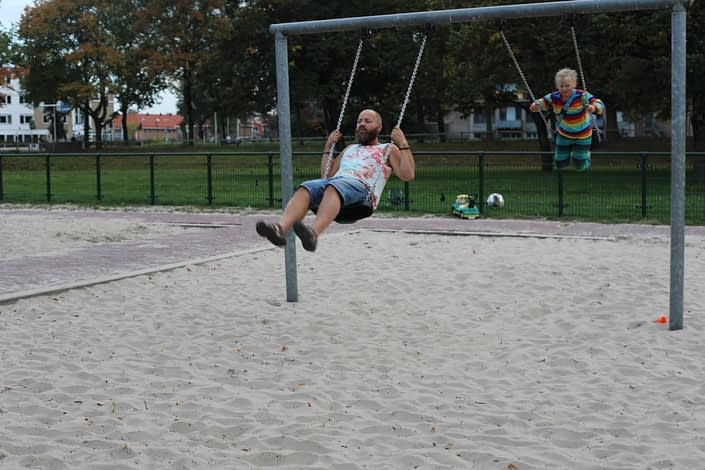 Back at the playground you are never too old for the swings
