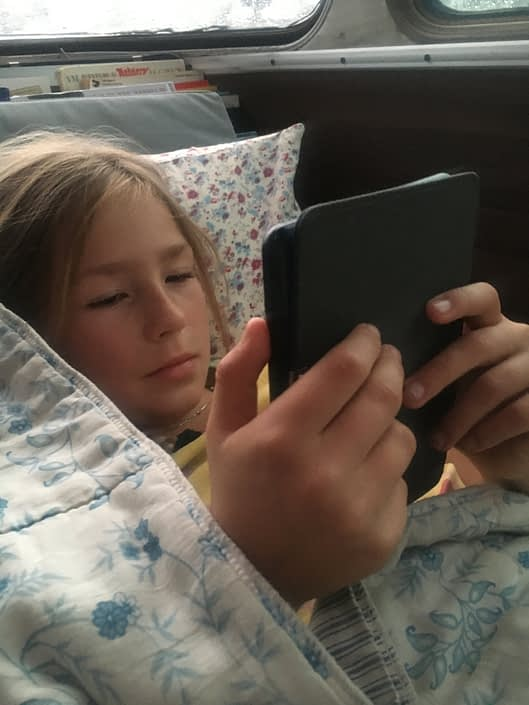 We had rainy mornings, and kindles. Perfect combination.