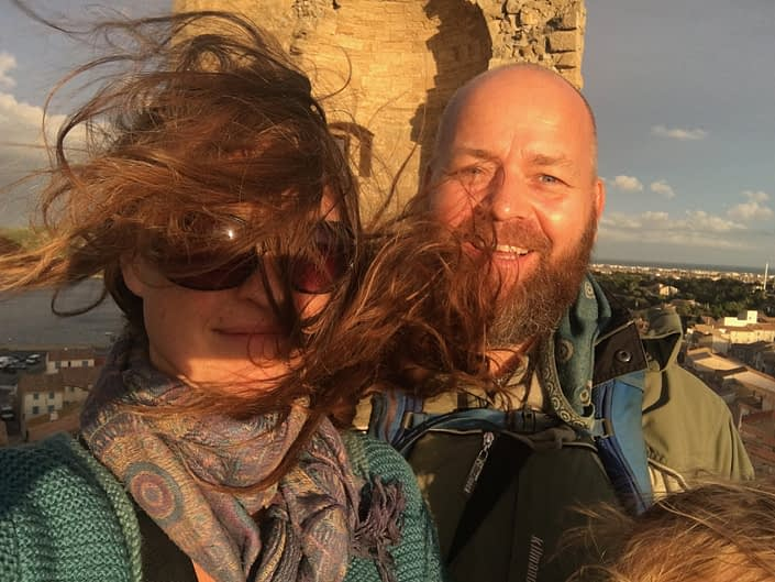 There were so much wind op there by the tower! Mom and dad selfie with the sun directly in our eyes and the wind so wild.