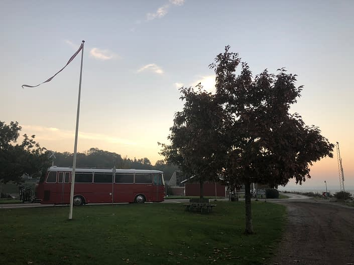 The red bus parked in Aabenraa