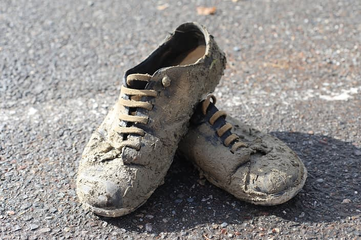 This is Jespers shoes, as they look after his journey to get gasoline for the generator - through a muddy field and a lot of rain